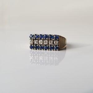 Vintage 14k yellow gold sapphire diamond ring